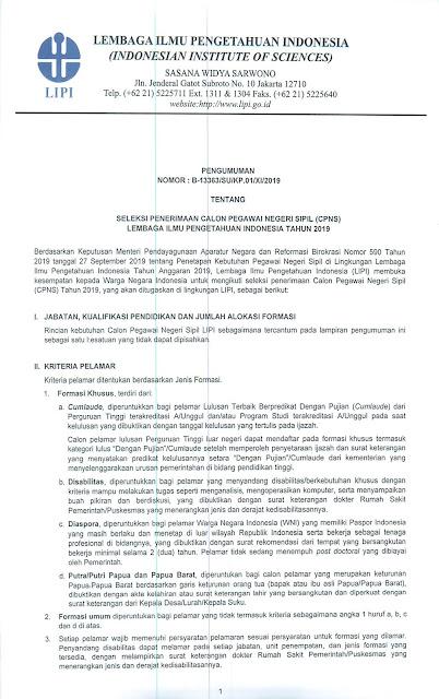 Seleksi Penerimaan CPNS Lembaga Ilmu Pengetahuan Indonesia (LIPI) Tahun 2019