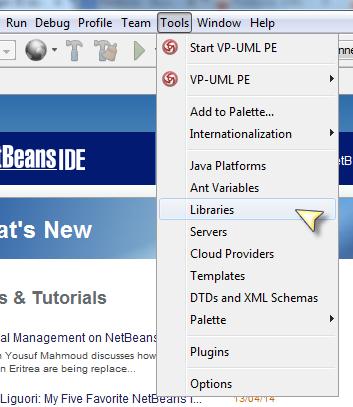 Agregar JDBC Driver de Firebird en NetBeans - Entrar a las Librerias