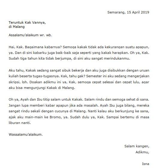 34+ Contoh surat pribadi untuk kakak terbaru yang baik
