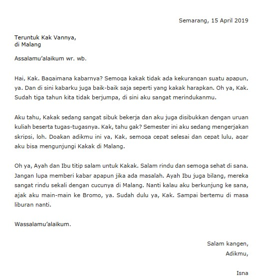 Contoh Surat Pribadi untuk Kakak (via: seruni.id)