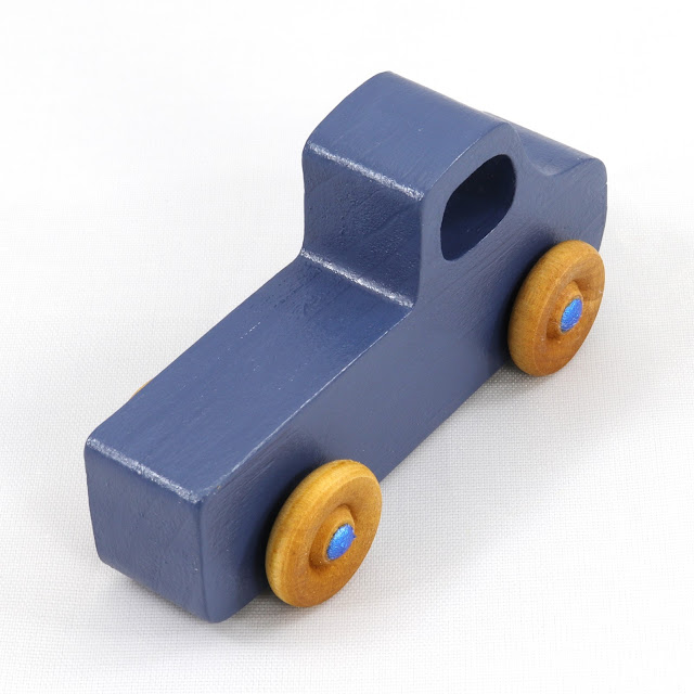 Handmade Wooden Toy Pickup Truck from the Play Pal Series Military Blue With Metallic Blue Hubs