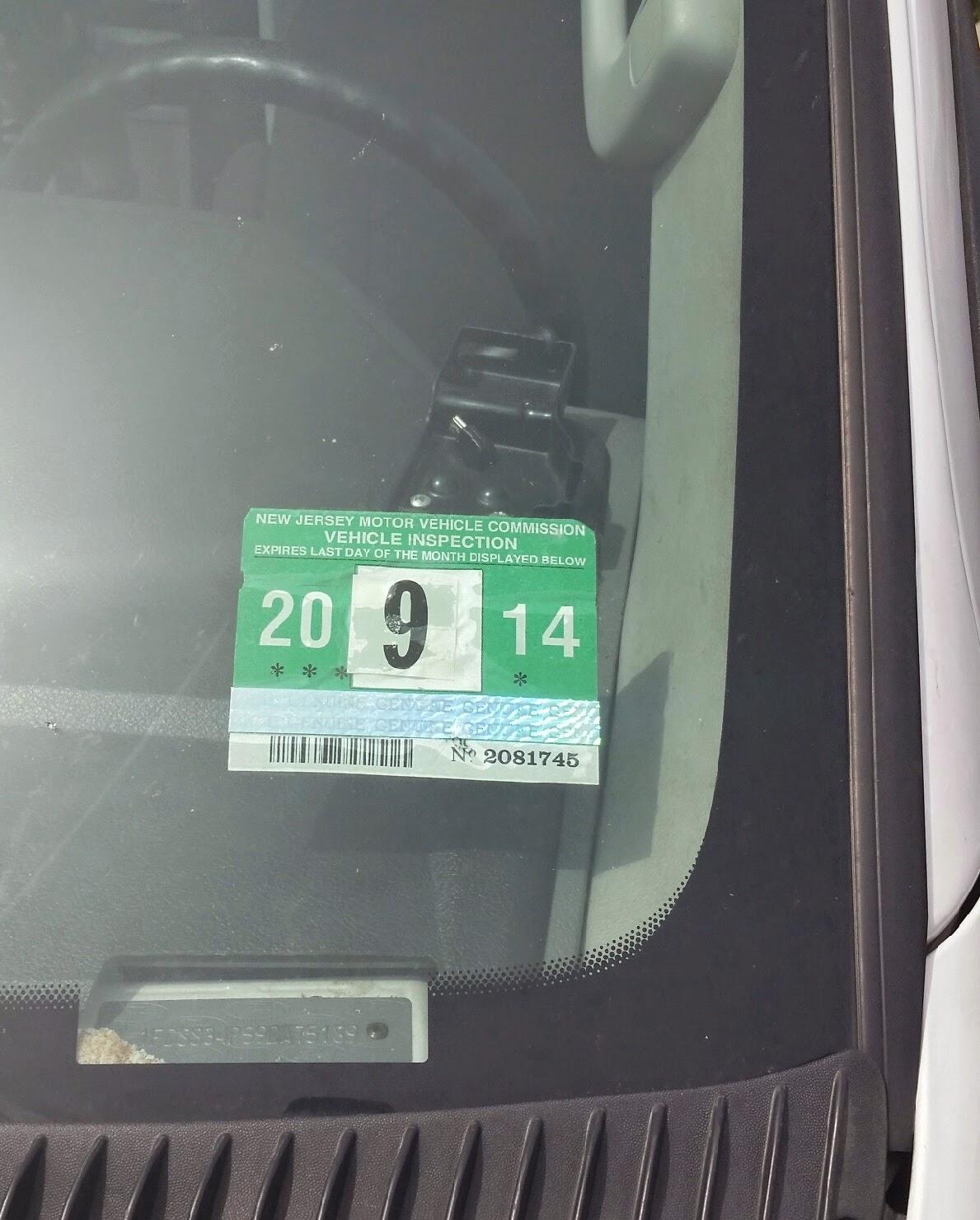 New Jersey Car Registration Sticker