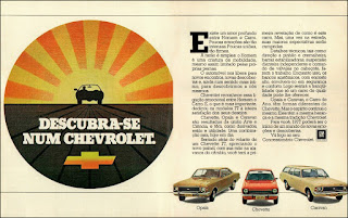propaganda Chevrolet 1976; Chevette 77; Opala 77; Caravan 77; GM anos 70; Chevrolet década de 70; carros Chevrolet anos 70; Oswaldo Hernandez
