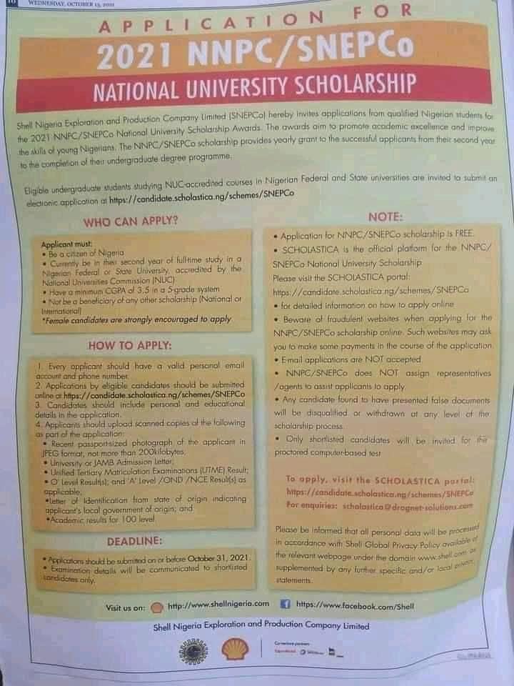 NNPC/SNEPCo National University Scholarship Award 2021