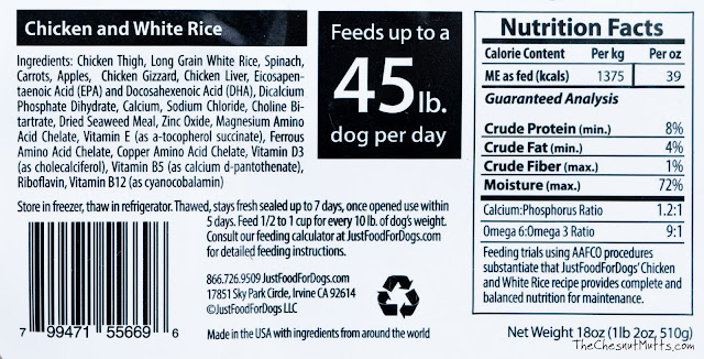 Just Food For Dogs chicken and white rice fresh and frozen holistic dog food