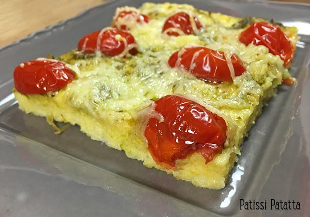 recette de polenta, polenta comme une pizza, pizza à la polenta, pizza polenta, ados affamés, polenta autrement, cuisiner de la polenta, comment préparer de la polenta, plat principal, patissi-patatta