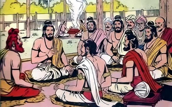 Vaishampayan reciting Mahabharata to Janamejaya ஜனமேஜயனிடம்