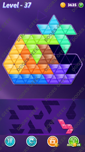 Block! Triangle Puzzle Proficient Level 37 Solution, Cheats, Walkthrough for Android, iPhone, iPad and iPod
