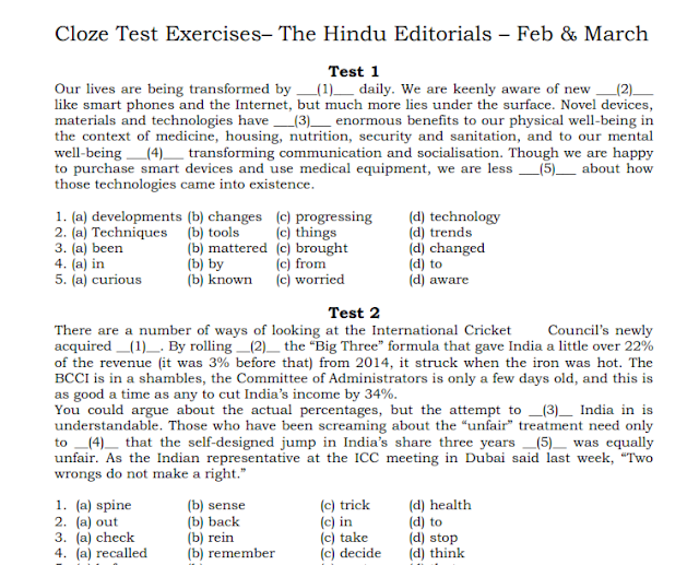 151 Cloze Test for SSC and Banking Exams Based on The Hindu and Economist Magazines PDF