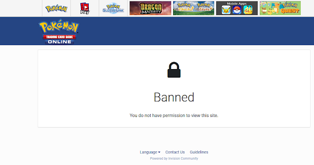 Pokémon Trading Card Game Online forum banned message