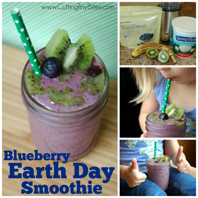 Blueberry Earth Day Smoothie. Healthy snack for kids full of fruit, protein, and calcium!! Blueberry and kiwi make ocean and land.