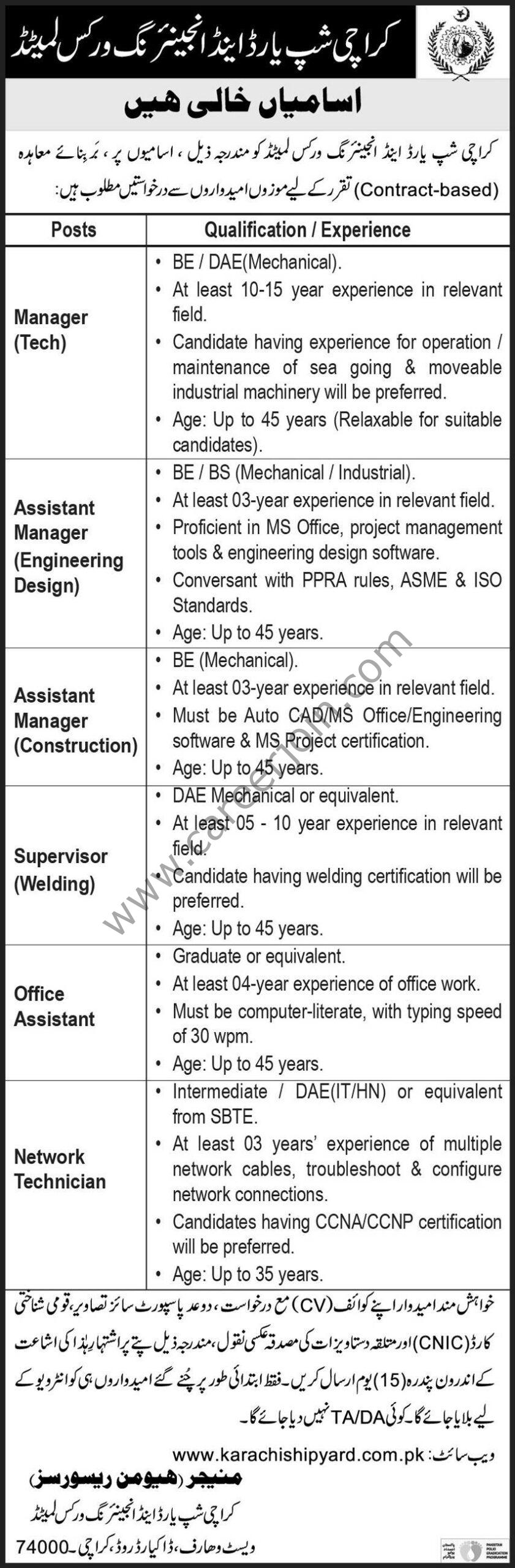 Karachi Shipyard & Engineering Works Ltd KS&EWL Jobs August 2021