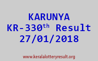 KARUNYA Lottery KR 330 Results 27-01-2018