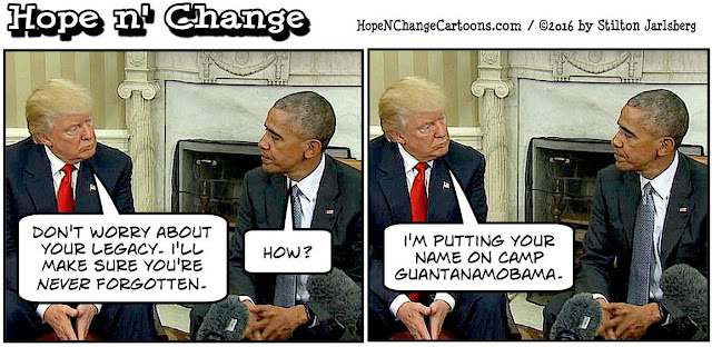 obama, obama jokes, political, humor, cartoon, conservative, hope n' change, hope and change, stilton jarlsberg, trump, transition, white house, guantanamo