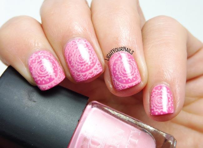 Pink nail stamping nail art