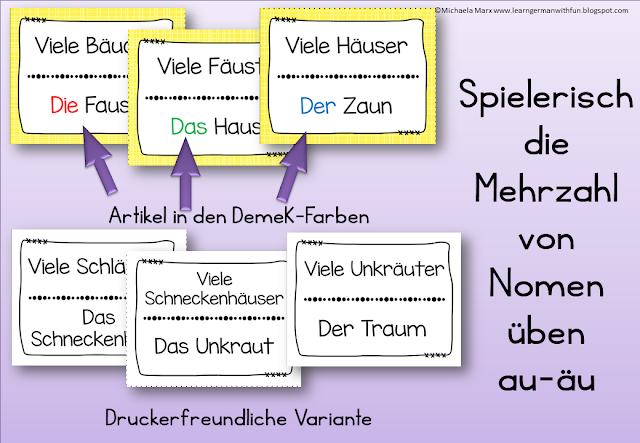 Lesespiel zum Üben der Mehrzahl von Wörtern, in denen in der Mehrzahl aus Au ein Äu wird.