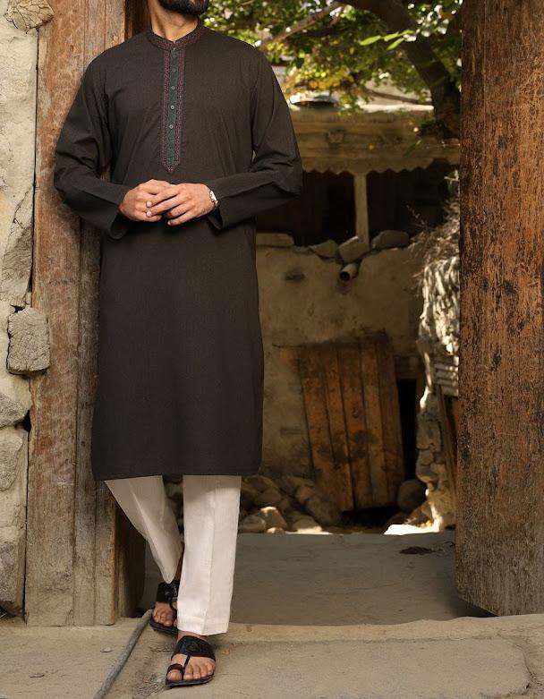 J. JUnaid Jmashed winter Dark mehndi color kurta collection