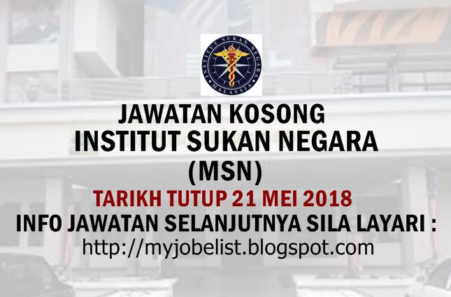 Jawatan Kosong Institut Sukan Negara (ISN) Mei 2018