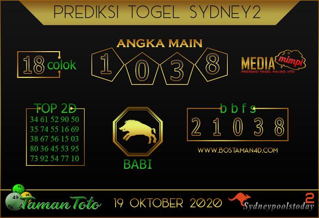Prediksi Togel SYDNEY 2 TAMAN TOTO 19 OKTOBER 2020