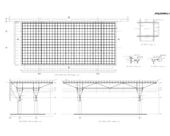 Bản vẽ autocad thiết kế mái hắt nhà thi đấu Phú Thọ