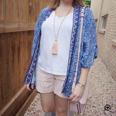awayfromtheblue Instagram | navy kimono with white tee blush pink shorts Rebecca Minkoff darren messenger bag