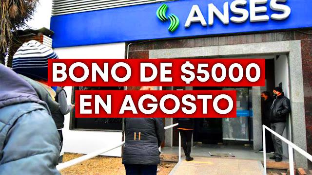 Bono de $5000 Agosto jubilados pensionados