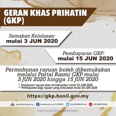 Permohonan Rayuan Geran Khas Prihatin (GKP) Online Mulai 3 Jun 2020