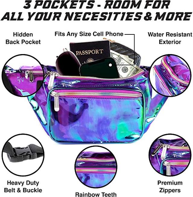 Holographic Rave Fashion Fanny Pack - Packs for festival women, men | Cute Fashion Waist Bag Belt Bags