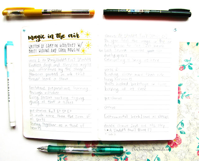songwriting notebook layout for an original song