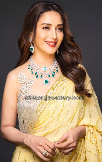 Madhuri Dixit Two Step Diamond Emerald Set