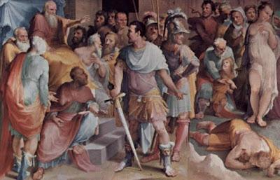Ahala, maestro del cavallo, presenta il morto Maelius a Cincinnato, affresco del Beccafumi al Palazzo Pubblico di Siena.