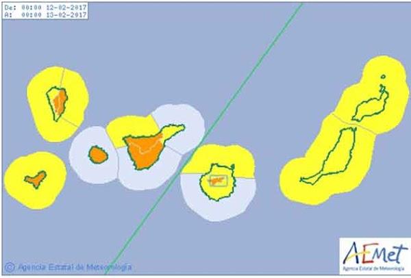 Aviso naranja por viento, Tenerife, La Palma y El hierro, domingo 12 febrero