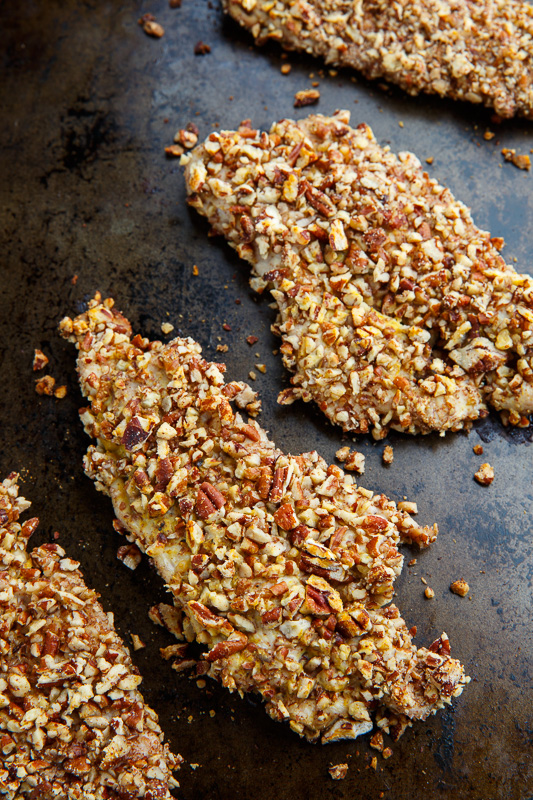Pecan Crusted Turkey Cutlets with Bacon-Maple Onion Marmalade