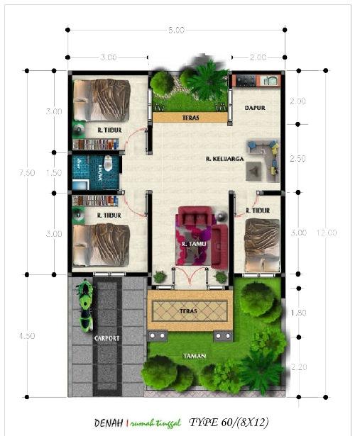 Berikut ini contoh denah rumah type 60 agar dapat melihat