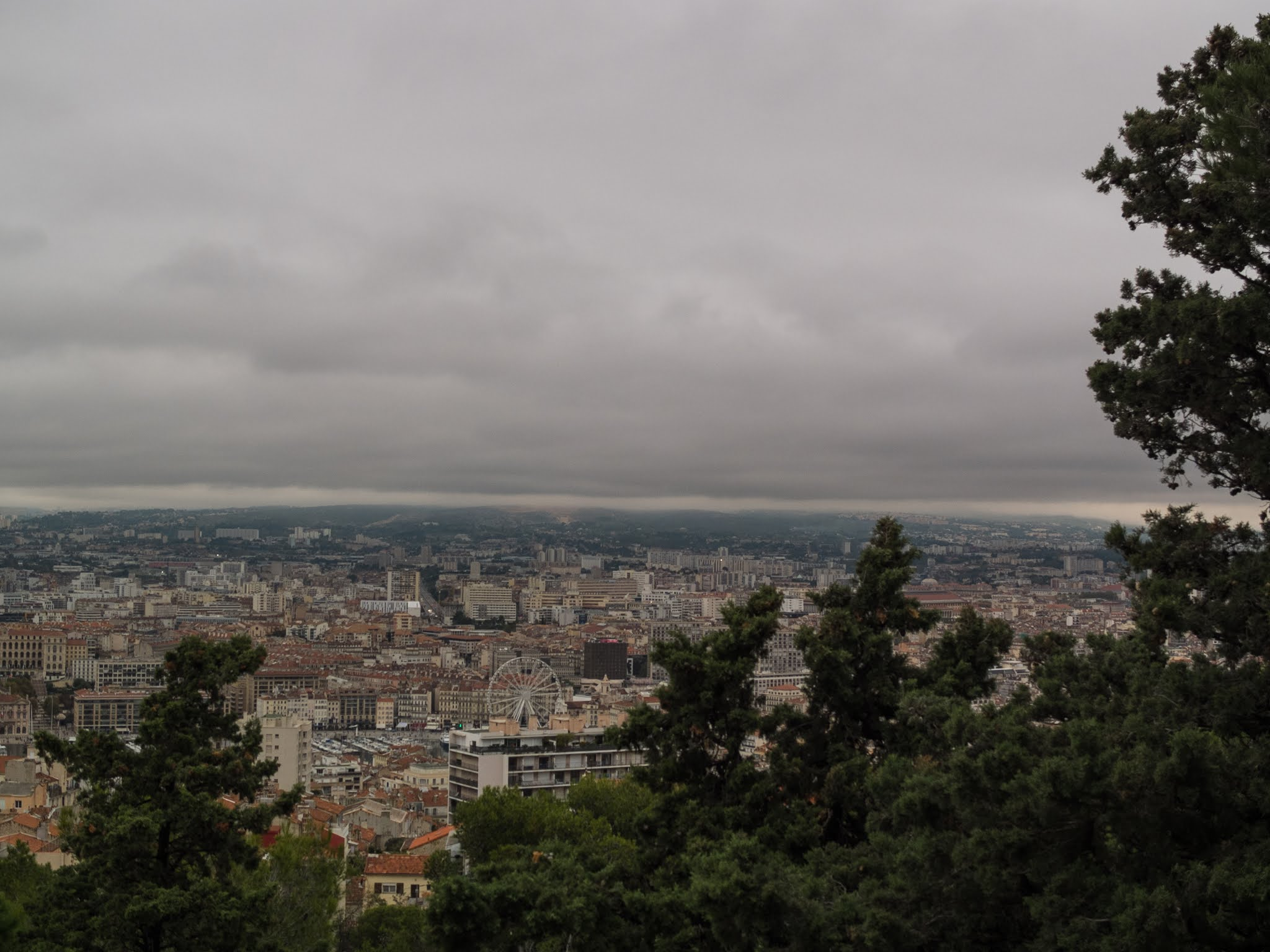 View of Marseille behind pine trees on La Garde Hill