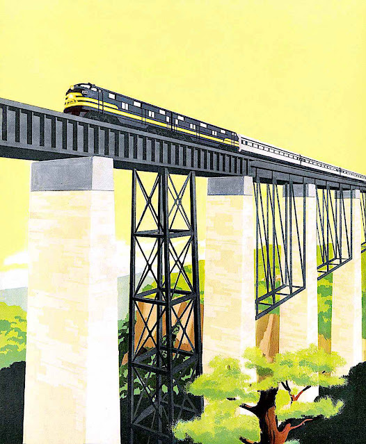 a Bern Hill illustration of a train and tressel with yellow sky