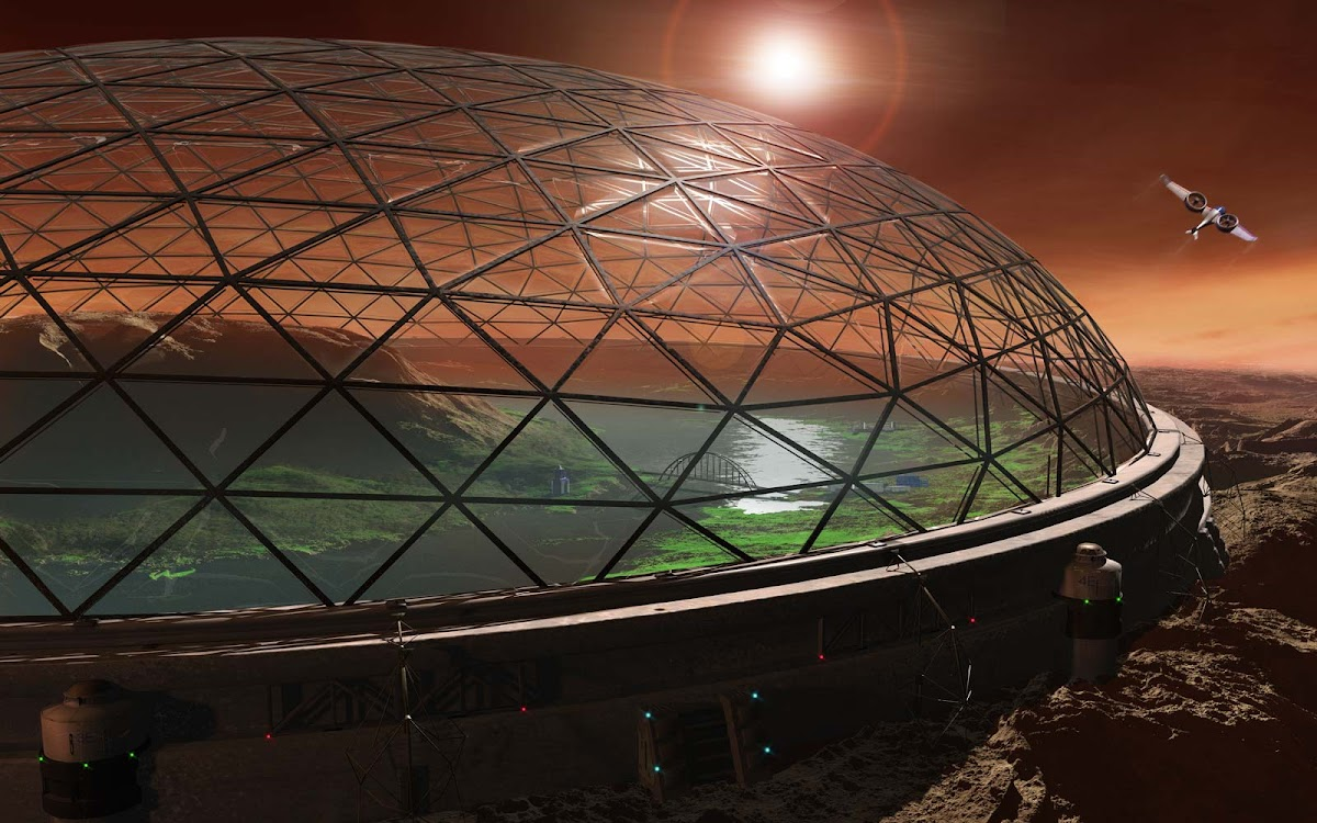 Domed Mars colony by Steven Hobbs