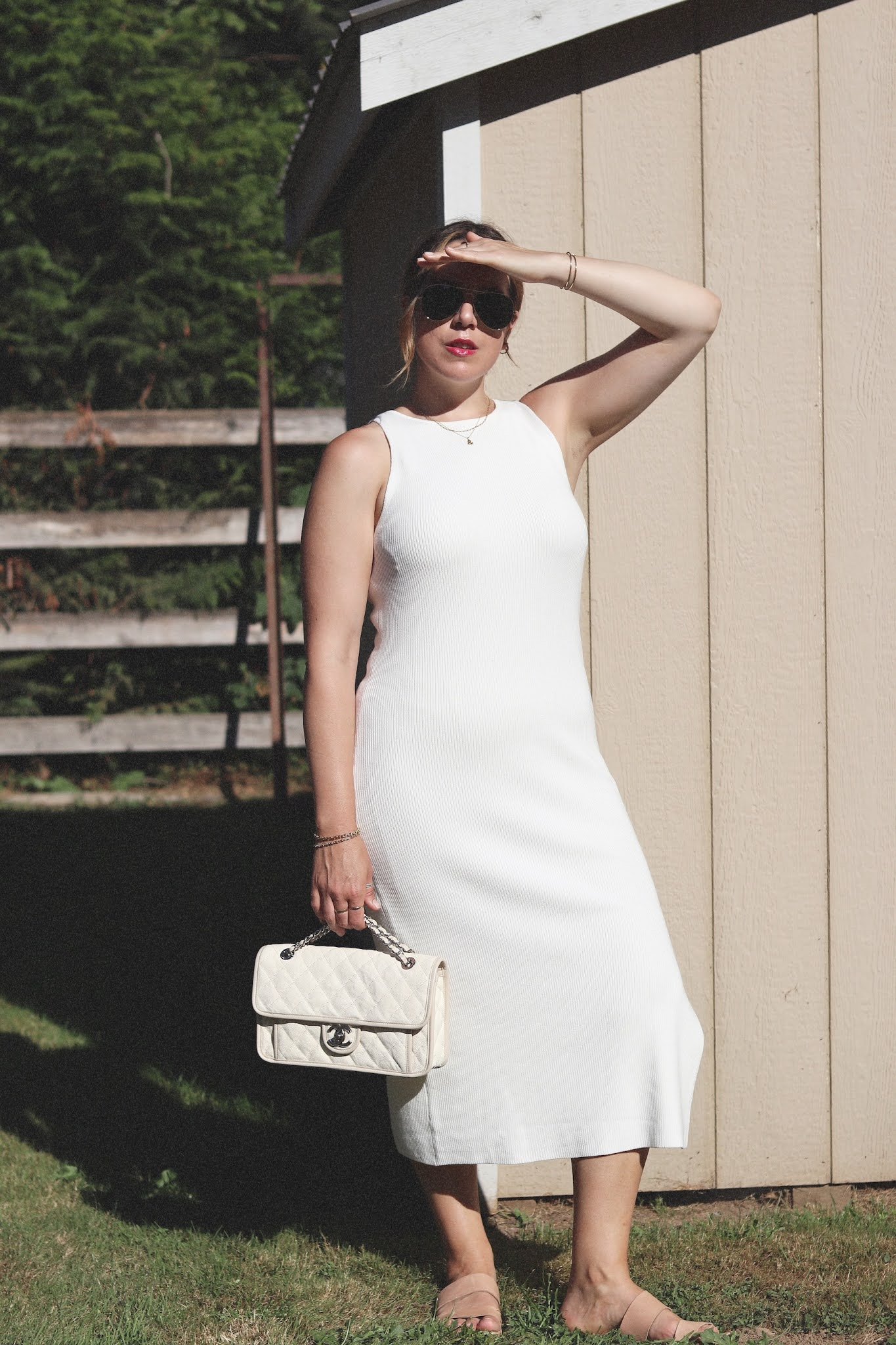 Nordstrom Leith ribbed midi dress white summer outfit