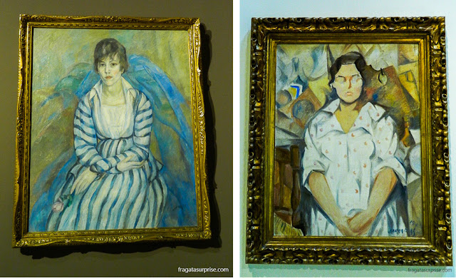 Retrato de Maria Llimona, de Joaquim Sunyer (1917), e o Retrato de Pilar, de Rafael Barradas (1919)