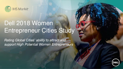Source: Dell SlideShare. Cover slide for the deck introducing the Dell 2018 Women Entrepreneur Cities Study.