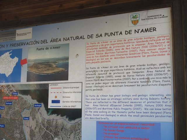 diese Infotafel befindet sich am Zugang / Parkplatz in Cala Millor auf die Halbinsel Punta de n'Amer