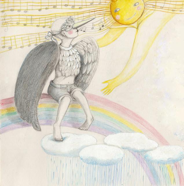 Aide Leit-Lepmets #AideArt illustration poetry rainbow rain sun art