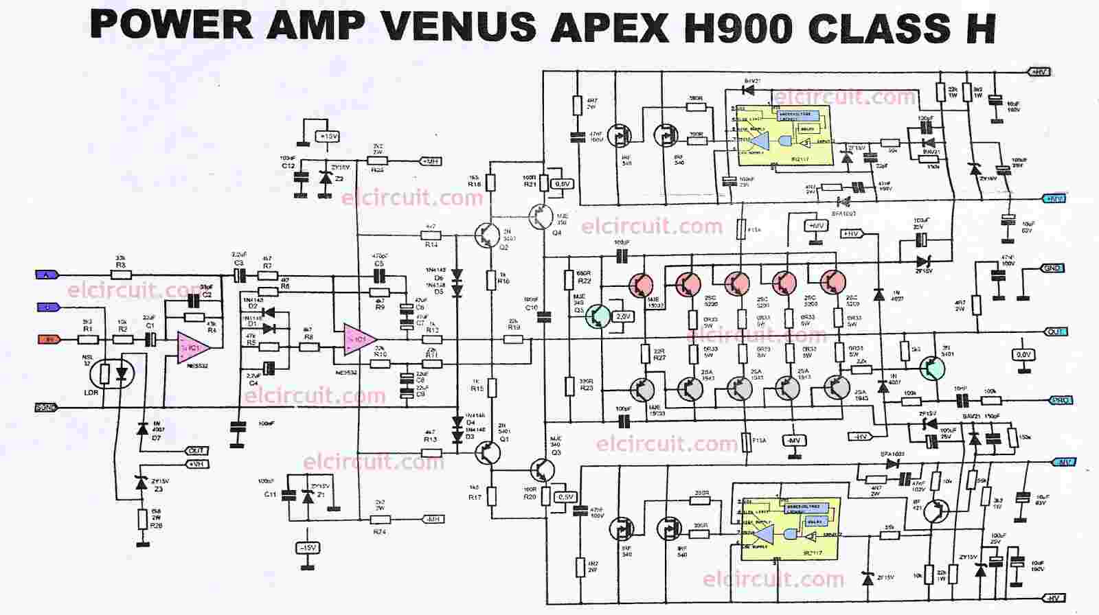 Power Amplifier Ocl 500watt Rms Electronic Circuit T 2000w Amp Using Sanken Apex H900 Efficient Flat And Powerful