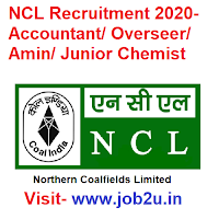 NCL Recruitment 2020, Accountant, Overseer, Amin, Junior Chemist