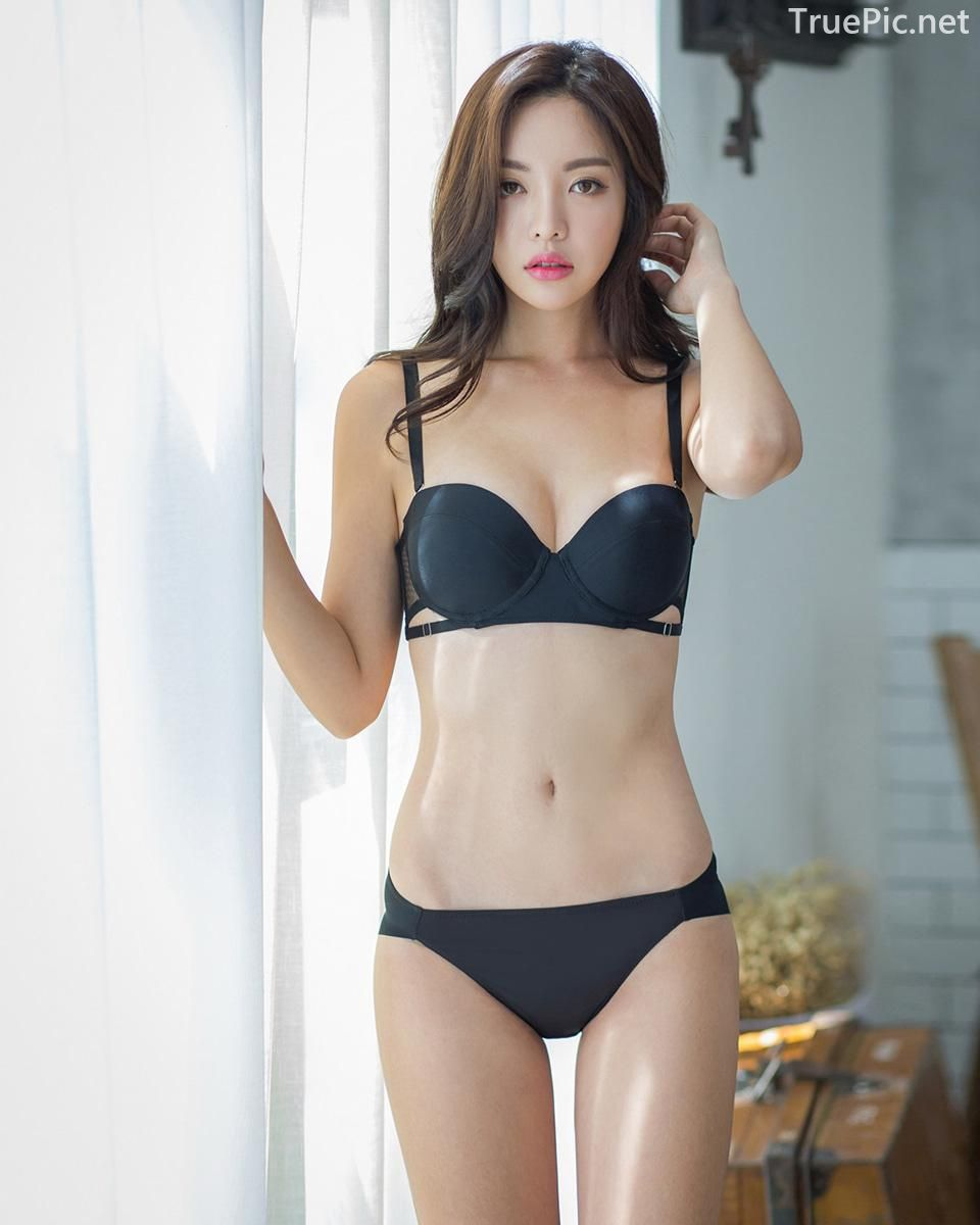 Korean model and fashion - Jin Hee - Black and white Lingerie - Picture 3