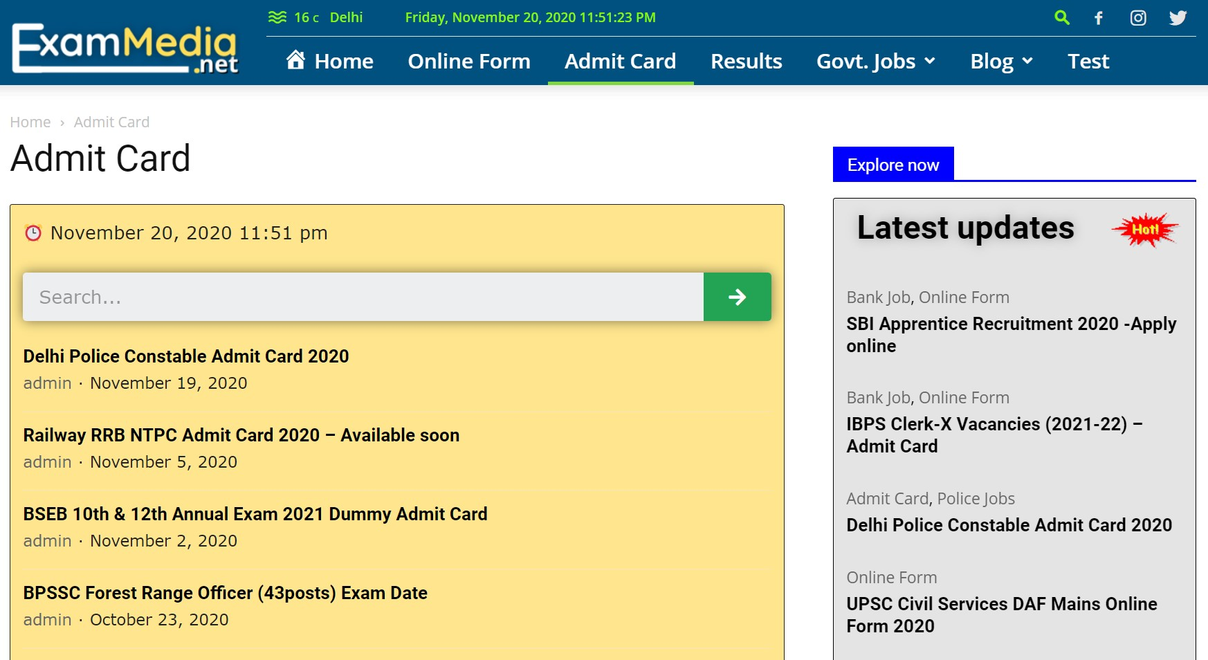 Exammedia Admit Card