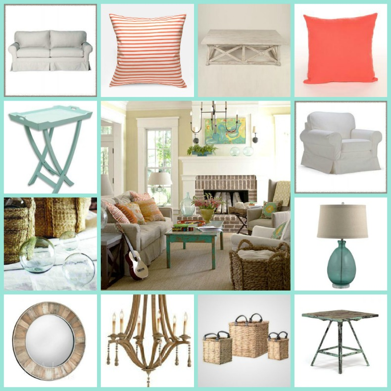 coastal living room, shopping, accessories