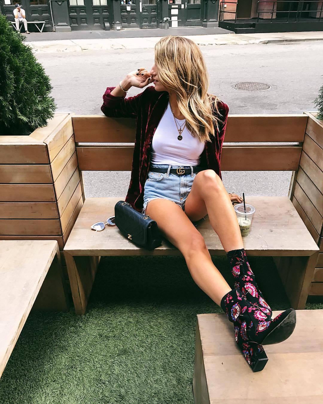 Cassandra DiMicco, Cass DiMicco, Street Style NYC, Street Style 2017, Street Style Outfits, Velvet Blazer, Velvet Blazer Burgundy, Gucci Belt women, levis shorts, coffee date, chanel bags, loeffler randall boots