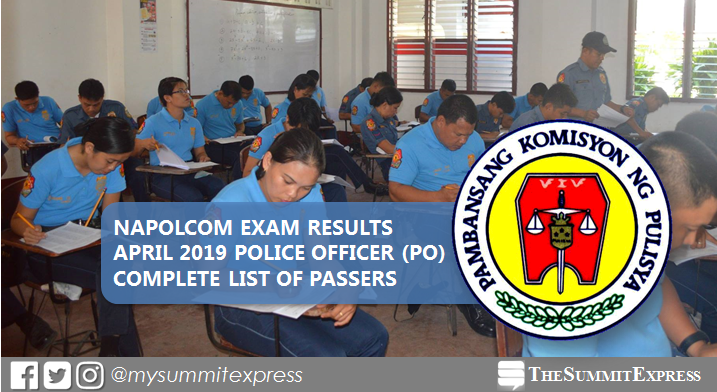 LIST OF PASSERS: Police Officer (PO) NAPOLCOM Exam Results April 2019