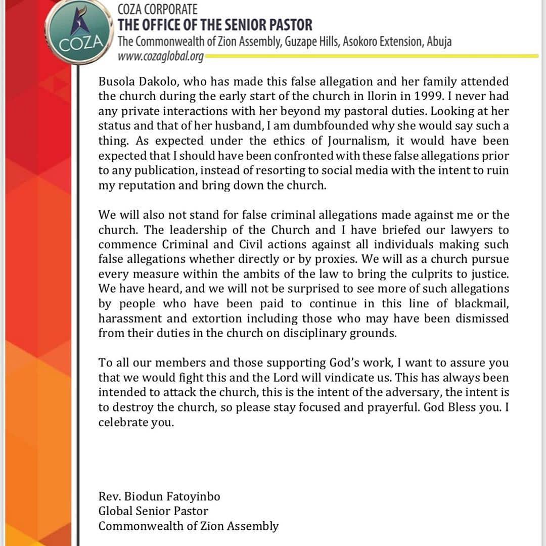 COZA pastor, Biodun Fatoyinbo denies the rape allegations - read the statement here